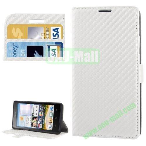 Carbon Fiber Texture Leather Case for Huawei Ascend G700 with Credit Card Slots (White)
