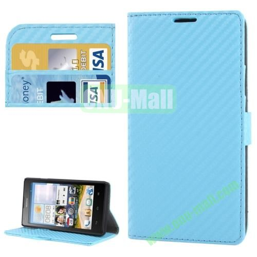 Carbon Fiber Texture Leather Case for Huawei Ascend G700 with Credit Card Slots (Blue)
