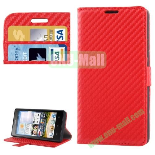 Carbon Fiber Texture Leather Case for Huawei Ascend G700 with Credit Card Slots (Red)