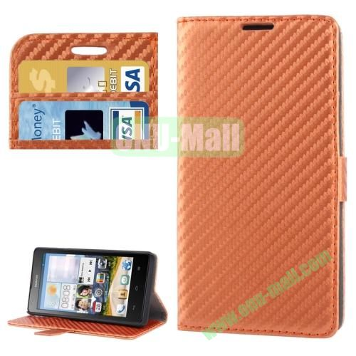 Carbon Fiber Texture Leather Case for Huawei Ascend G700 with Credit Card Slots (Brown)