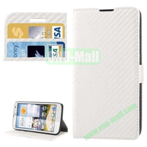 Carbon Fiber Texture Leather Case for Huawei Ascend G730 with Credit Card Slots (White)