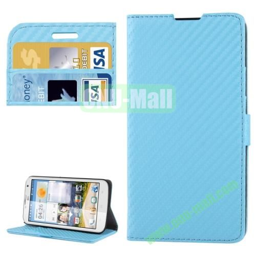 Carbon Fiber Texture Leather Case for Huawei Ascend G730 with Credit Card Slots (Light Blue)
