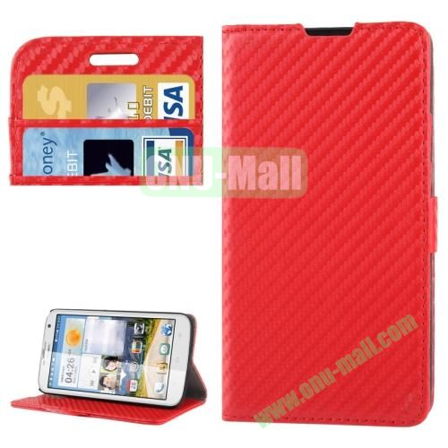 Carbon Fiber Texture Leather Case for Huawei Ascend G730 with Credit Card Slots  (Red)