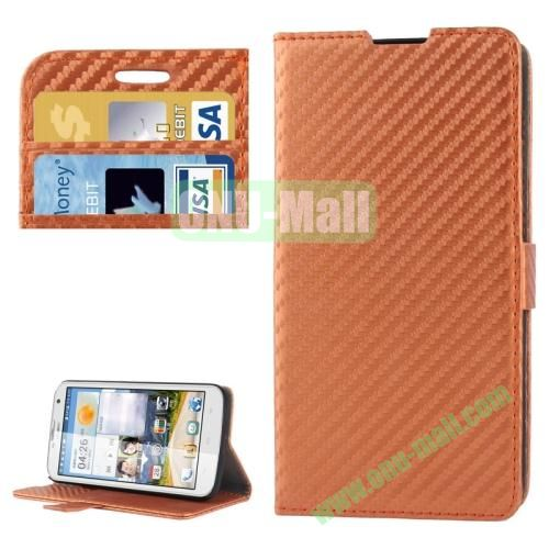 Carbon Fiber Texture Leather Case for Huawei Ascend G730 with Credit Card Slots  (Brown)