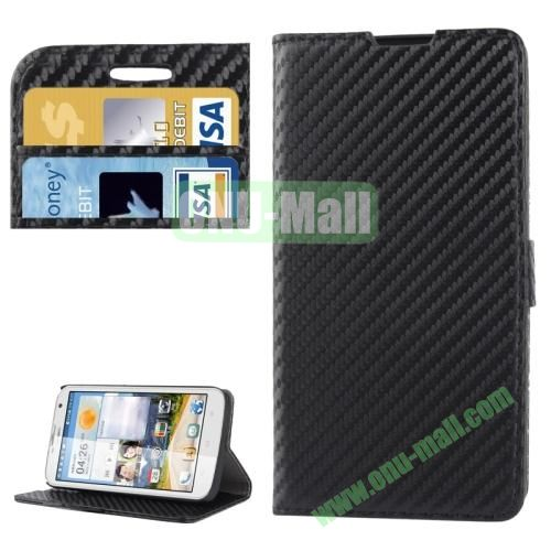 Carbon Fiber Texture Leather Case for Huawei Ascend G730 with Credit Card Slots  (Black)