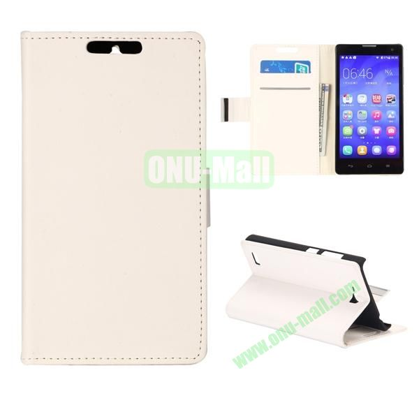 Simple PU Flip Wallet Leather Case for Huawei Honor 3C (White)