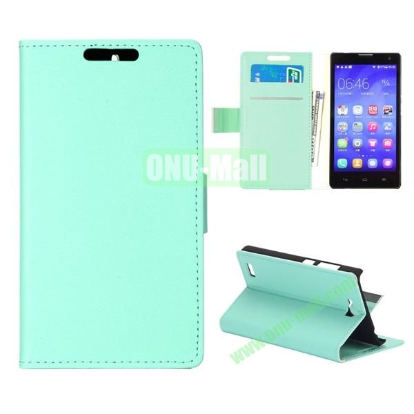 Simple PU Flip Wallet Leather Case for Huawei Honor 3C (Green)