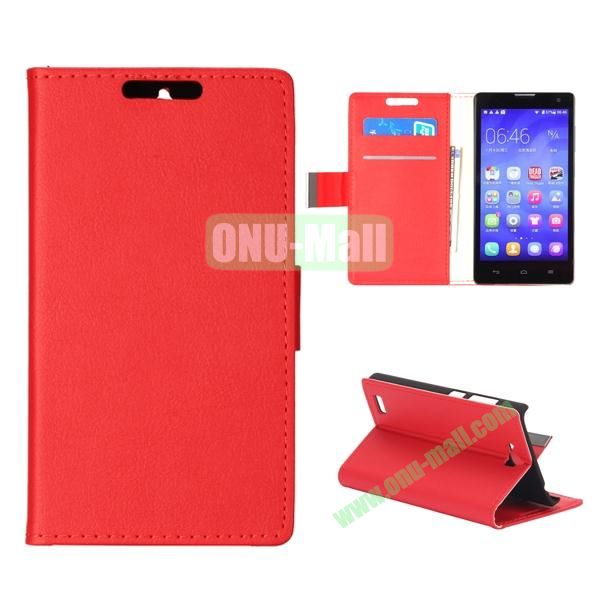 Simple PU Flip Wallet Leather Case for Huawei Honor 3C (Red)