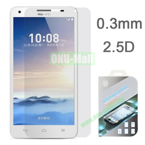 2.5 Degree Arc Incision Gold 0.3mm Tempered Glass Explosion-proof Anti-Fingerprint Screen Protectors for Huawei Honor 3X