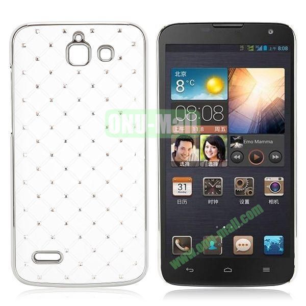 Shining Stars Diamond Grids Pattern Electroplated Hard Case for Huawei G730 (White)