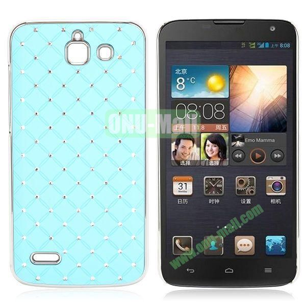 Shining Stars Diamond Grids Pattern Electroplated Hard Case for Huawei G730 (Light Blue)