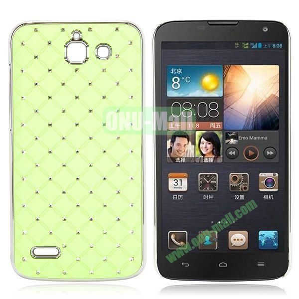 Shining Stars Diamond Grids Pattern Electroplated Hard Case for Huawei G730 (Green)
