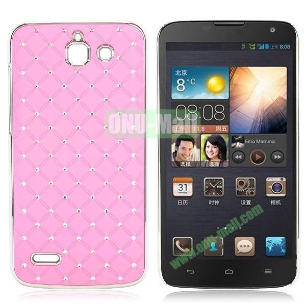 Shining Stars Diamond Grids Pattern Electroplated Hard Case for Huawei G730 (Pink)