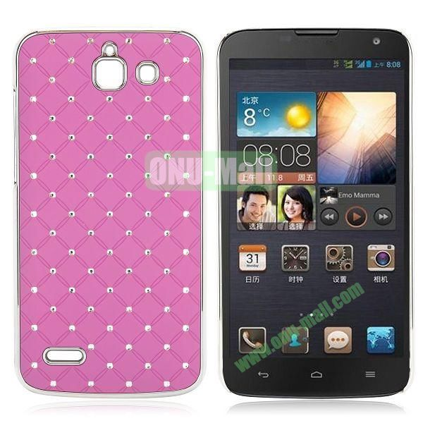 Shining Stars Diamond Grids Pattern Electroplated Hard Case for Huawei G730 (Purple)