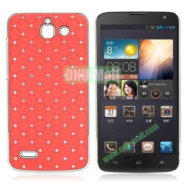 Shining Stars Diamond Grids Pattern Electroplated Hard Case for Huawei G730 (Red)