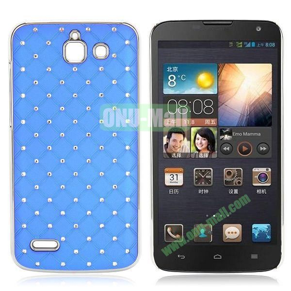 Shining Stars Diamond Grids Pattern Electroplated Hard Case for Huawei G730 (Blue)
