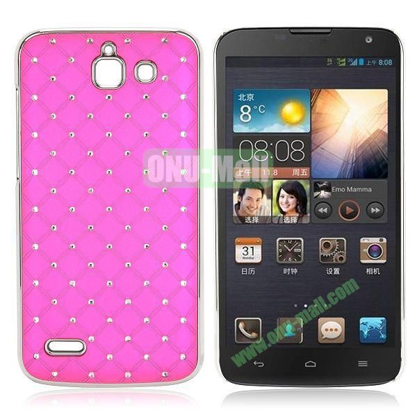 Shining Stars Diamond Grids Pattern Electroplated Hard Case for Huawei G730 (Rose)