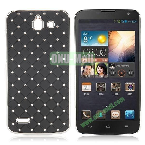 Shining Stars Diamond Grids Pattern Electroplated Hard Case for Huawei G730 (Black)
