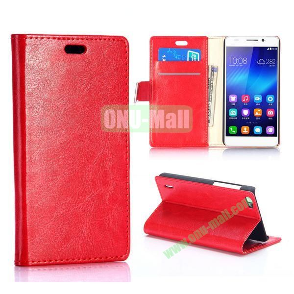 Crazy Horse Texture Foldable Flip Stand Leather Case for Huawei Honor 6 (Red)