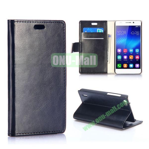 Crazy Horse Texture Foldable Flip Stand Leather Case for Huawei Honor 6 (Black)