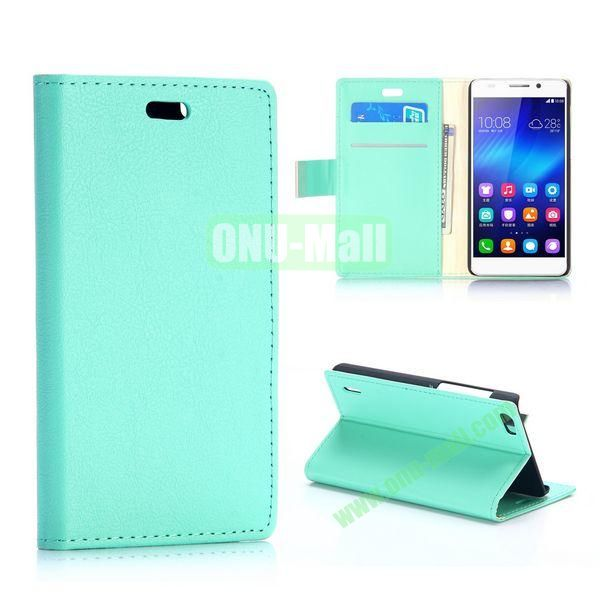 Karst Texture Flip Stand PU Leather Case for Huawei Honor 6 (Light Green)