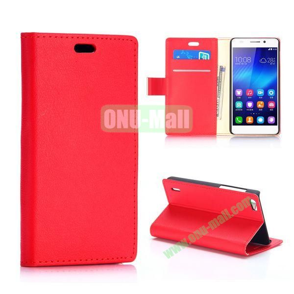 Karst Texture Flip Stand PU Leather Case for Huawei Honor 6 (Red)