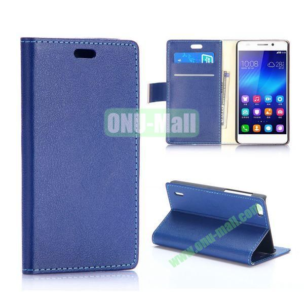 Karst Texture Flip Stand PU Leather Case for Huawei Honor 6 (Dark Blue)