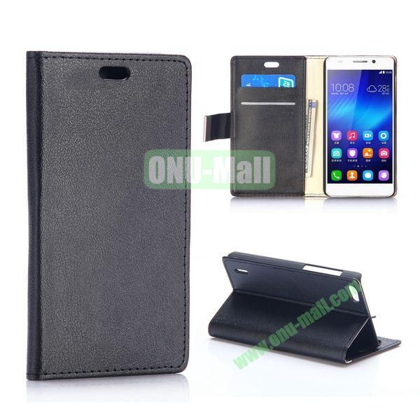 Karst Texture Flip Stand PU Leather Case for Huawei Honor 6 (Black)