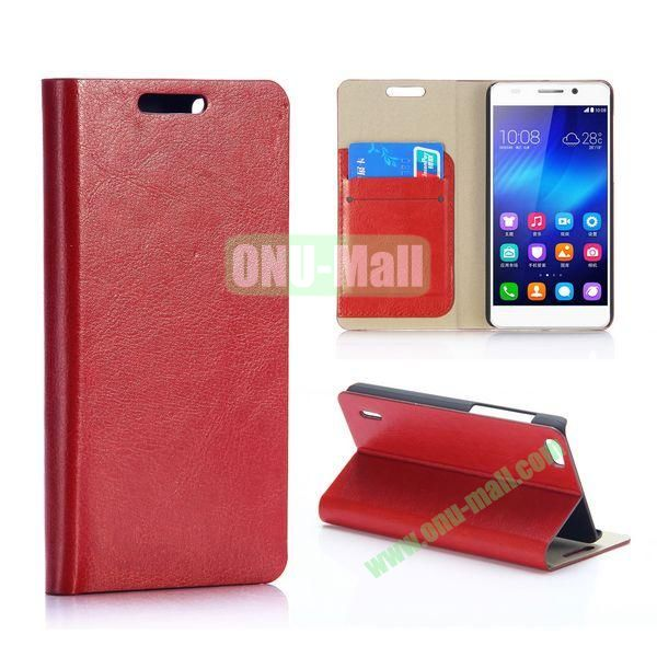 Crazy Horse Texture Flip Stand PU Leather Case for Huawei Honor 6 (Brown)