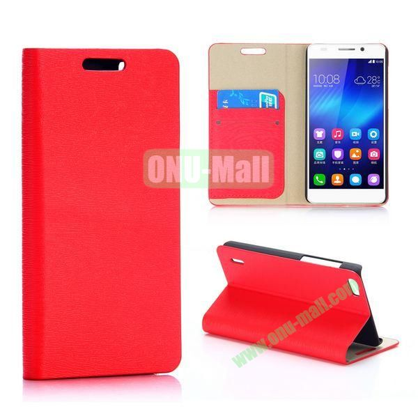 Wood Grain Pattern Foldable Flip Stand PU Leather Case for Huawei Honor 6 (Red)