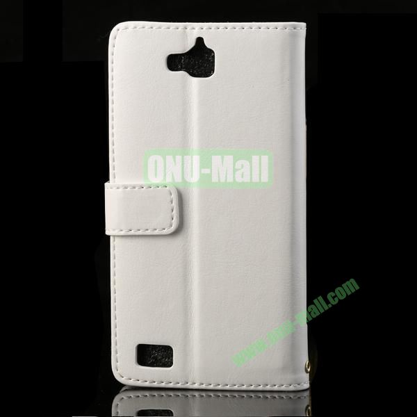 PC and Leather Case for Huawei Honor 3C with Crazy Horse Pattern (White)