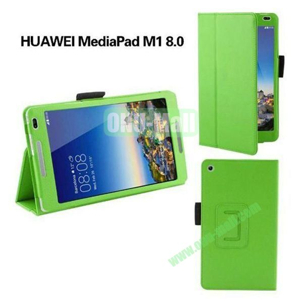 High Quality Flip Stand PU Leather Case for Huawei MediaPad M1 8.0 (Green)