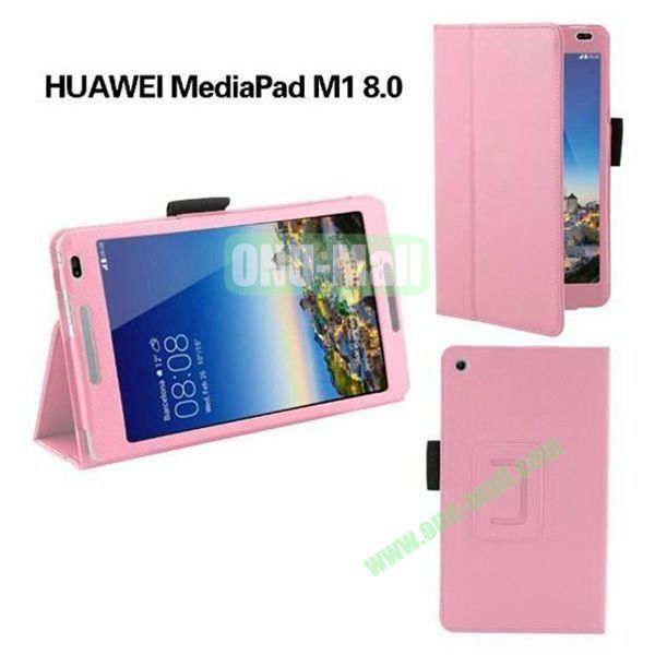 High Quality Flip Stand PU Leather Case for Huawei MediaPad M1 8.0 (Pink)