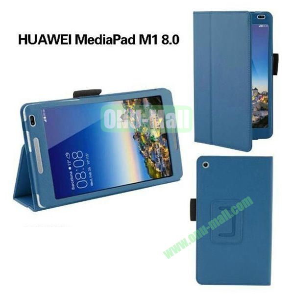 High Quality Flip Stand PU Leather Case for Huawei MediaPad M1 8.0 (Blue)