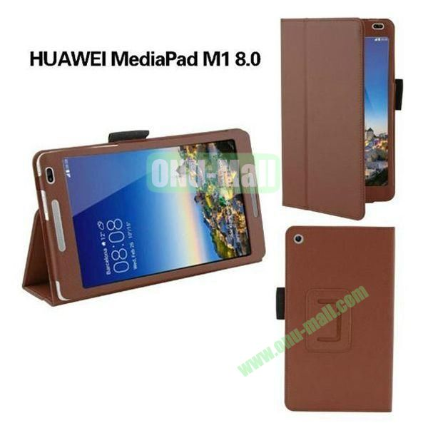 High Quality Flip Stand PU Leather Case for Huawei MediaPad M1 8.0 (Brown)