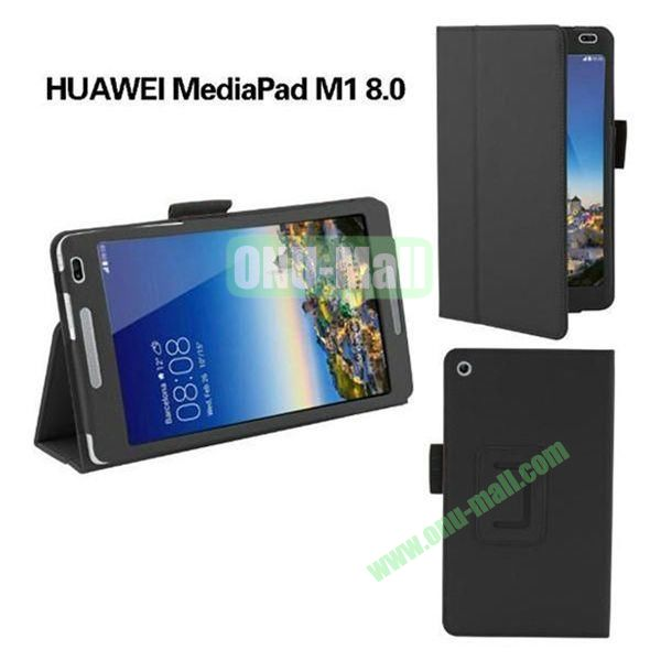 High Quality Flip Stand PU Leather Case for Huawei MediaPad M1 8.0 (Black)