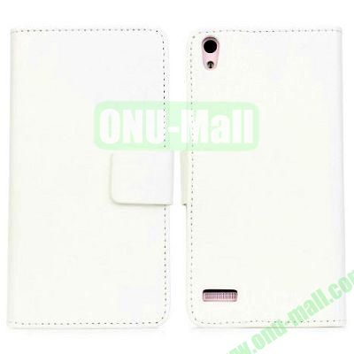 PU Material Wallet Style Leather Case for HUAWEI P6 (White)