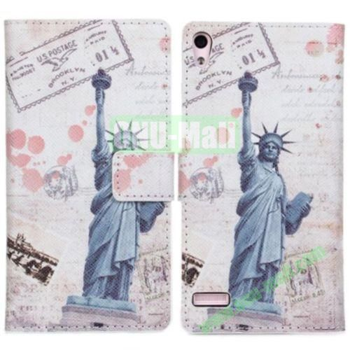 Statue of Liberty Pattern Leather Case for Huawei Ascend P6  with Card Slots & Holder