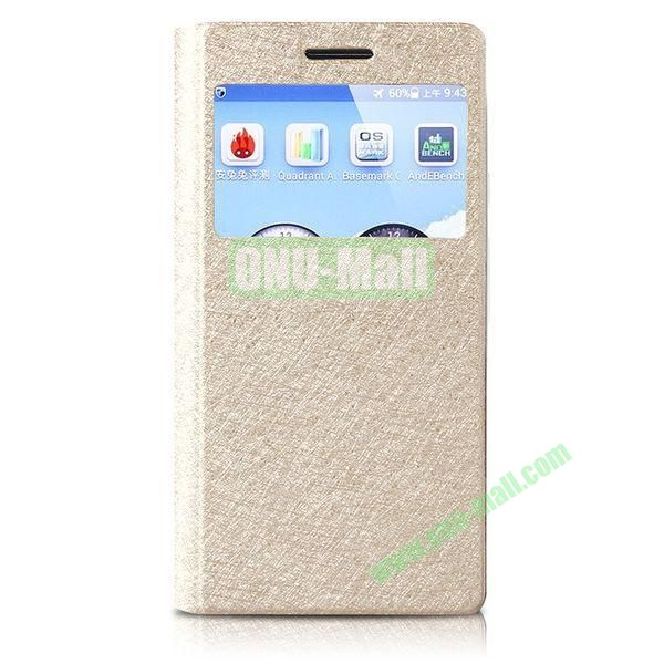 JOYROOM Prague Series Flip Silk Texture Leather Case for HuaWei Ascend P6 with Caller ID Display Window (Champagne Gold)