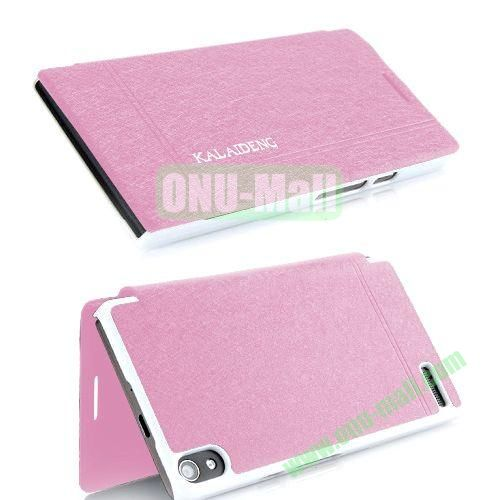 KLD iCeland Ultrathin Silk Pattern Style Leather Case For Huawei Ascend P6 (Pink)