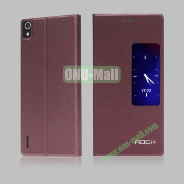Rock Feather Series View Window Flip Stand Leather Case for Huawei Ascend P7 (Brown)