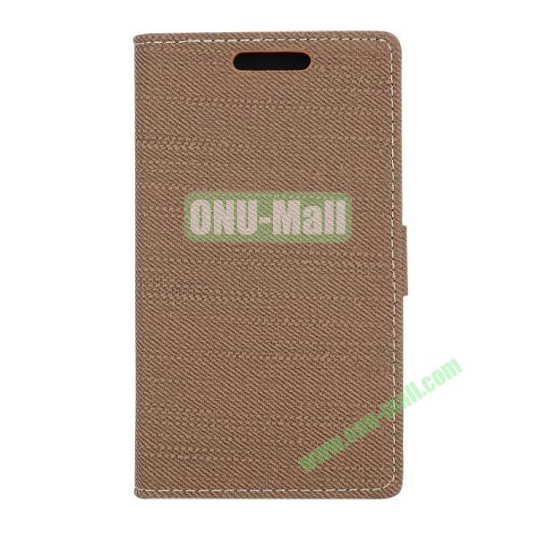 Fabric Texture Flip Wallet Leather Case for Huawei Ascend P7 with Card Slots and Stand (Coffee)