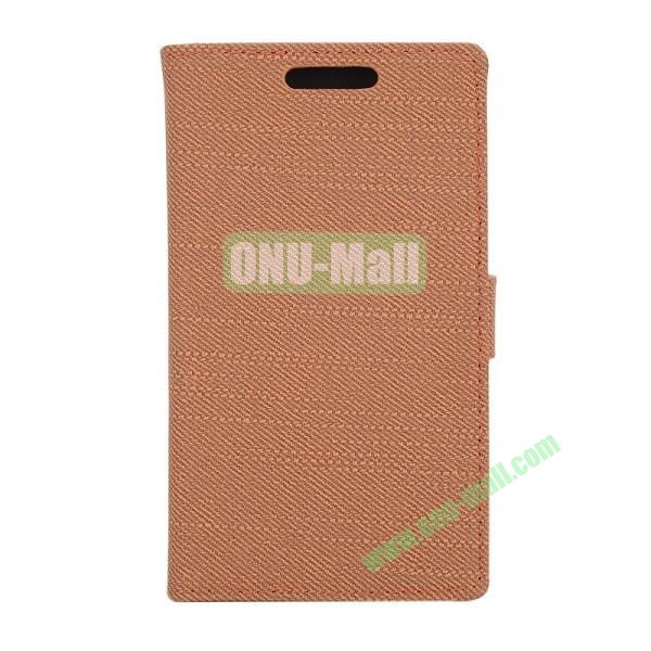 Fabric Texture Flip Wallet Leather Case for Huawei Ascend P7 with Card Slots and Stand (Brown)