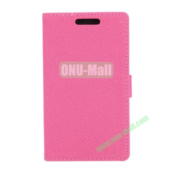 Gravel Pattern Wallet Flip Leather Case for Huawei Ascend P7 with Card Slots and Stand (Pink)