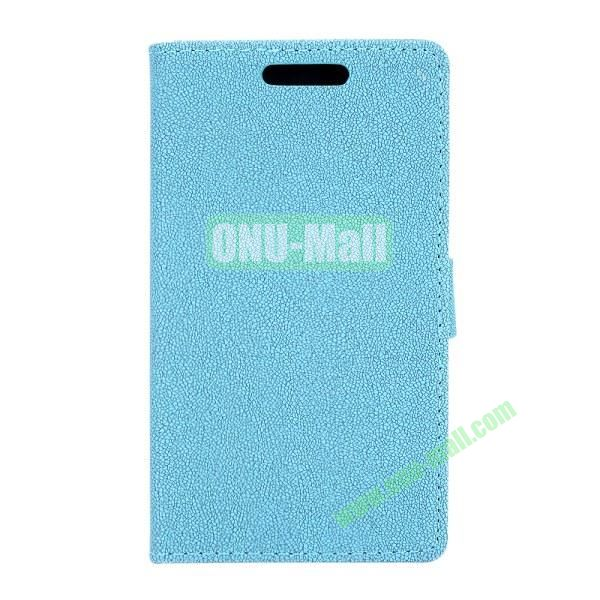 Gravel Pattern Wallet Flip Leather Case for Huawei Ascend P7 with Card Slots and Stand (Blue)