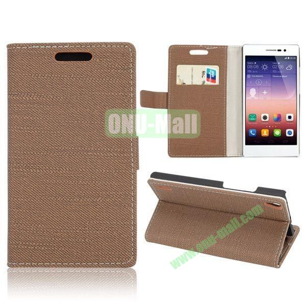 Cloth Texture Wallet Style Magnetic Flip Stand Leather Case for Huawei Ascend P7 with Card Slots (Coffee)