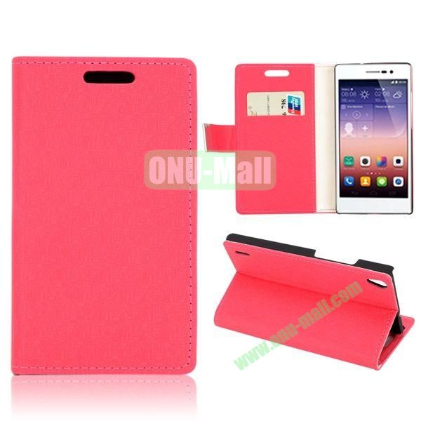 Maze Pattern Wallet Design Magnetic Flip Stand Leather Case with Card Slots for Huawei Ascend P7 (Rose)