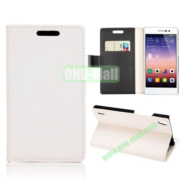 Fashion Magnetic Wallet Flip Stand Leather Case with Card Slots for Huawei Ascend P7 (White)