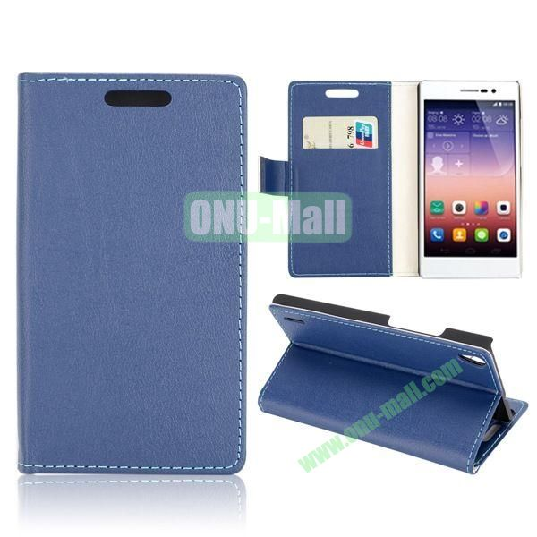 Fashion Magnetic Wallet Flip Stand Leather Case with Card Slots for Huawei Ascend P7 (Dark Blue)