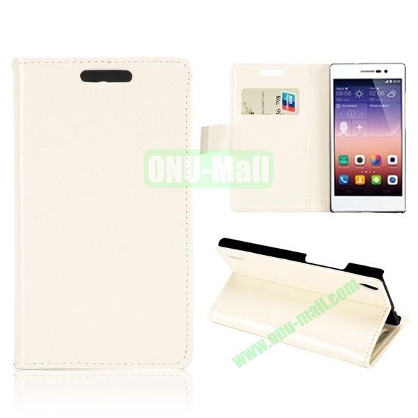 Crazy Horse Texture Magnetic Flip Stand Leather Case with Card Slots for Huawei Ascend P7 (White)